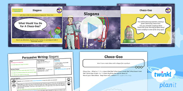 PlanIt Y3 Space: To Support Teaching on The King of Space Lesson Pack Persuasive Writing (2) - The King of Space, adverts, persuasion,  space, Year 3, Y3, English, non-fiction, Johnny Duddle, Kin