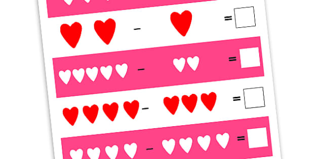 Heart Subtraction Worksheets - heart, love, subtract, valentine