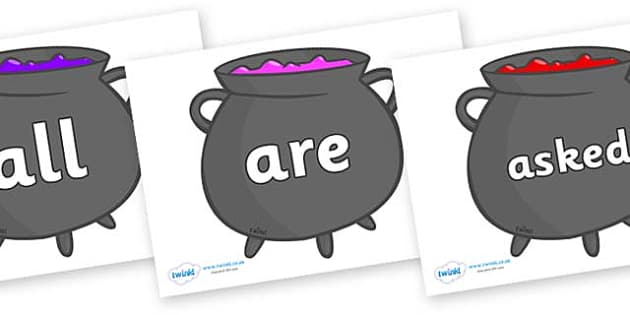 Tricky Words on Cauldrons (Plain) - Tricky words, DfES Letters and Sounds, Letters and sounds, display, words