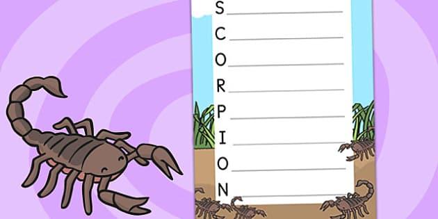 Minibeasts Acrostic Poem Scorpion - poems, poetry, poem templates
