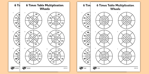 6 Times Table Multiplication Wheels Activity Sheet Pack - 6 times table, multiplication wheels, activity sheet, multiplication, wheels, worksheet