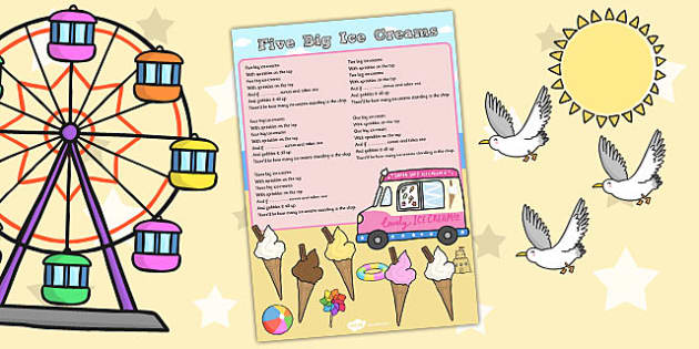Five Big Ice Creams Counting Song Sheet - Ice, Cream, Song, Count