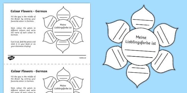 MFL German Colour Flowers Activity Sheet, worksheet