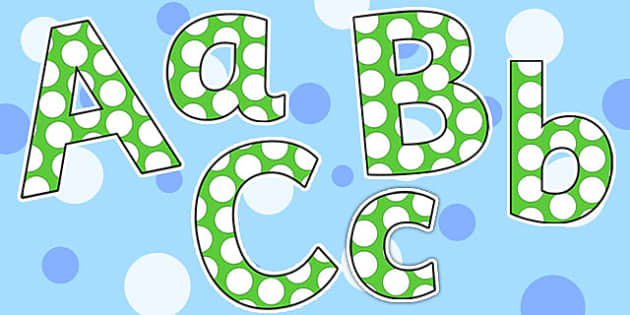 Green and White Spots Small Lowercase Display Lettering - green, white, lettering