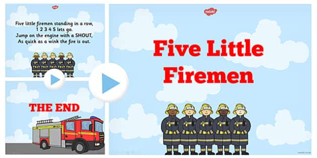 Five Little Firemen Counting Song PowerPoint - firemen, song