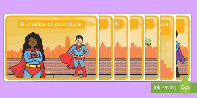 Classroom Golden Rules Large Display Cut-Out Pack Gaeilge - Gaeilge KS1 Display, Irish, rules
