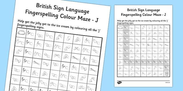 British Sign Language Left Handed Fingerspelling Colour Maze J