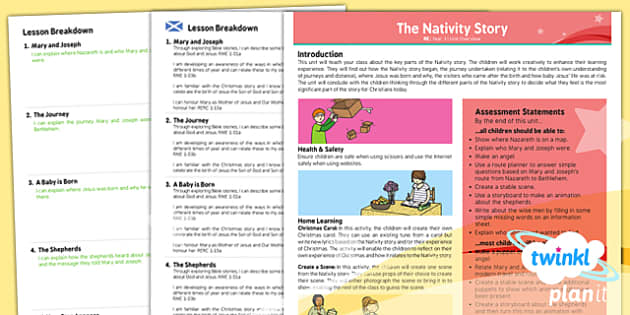 PlanIt - RE Year 3 - The Nativity Story CfE Overview