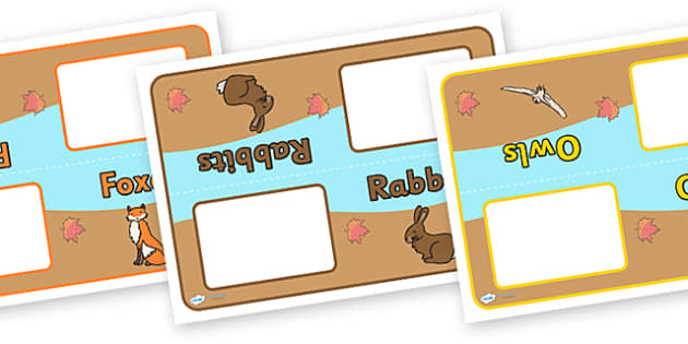 Editable Class Group Signs (Woodland Animals) - Woodland Animals, group signs, group labels, group table signs, table sign, teaching groups, class group, class groups, table label, harvest,  harvest festival, fruit, apple, pear, orange, wheat, bread,