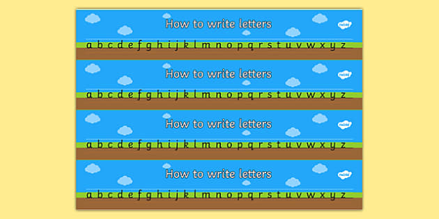 How to Write Letters Writing Aids - Line guide, Handwriting, Writing aid, Learning to write, sky ground grass, line guides
