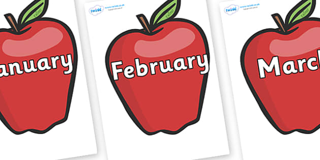 Months of the Year on Red Apples - Months of the Year, Months poster, Months display, display, poster, frieze, Months, month, January, February, March, April, May, June, July, August, September