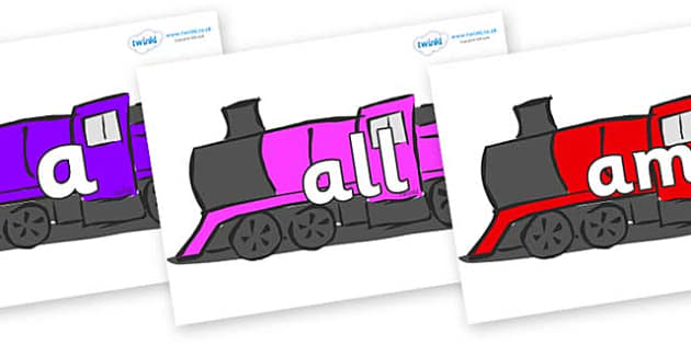 Foundation Stage 2 Keywords on Trains - FS2, CLL, keywords, Communication language and literacy,  Display, Key words, high frequency words, foundation stage literacy, DfES Letters and Sounds, Letters and Sounds, spelling