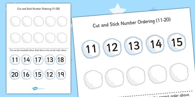 Cut and Stick Number Ordering Snowball Activity 11-20 - snowball