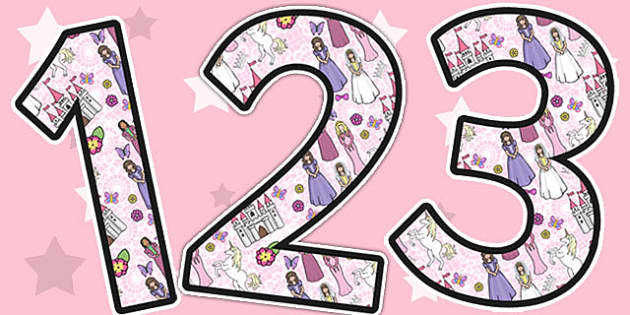 Princess Themed A4 Display Numbers - display, numbers, princess
