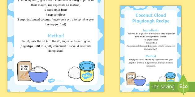 Coconut Cloud Playdough Recipe - playdough, recipe, coconut, cloud