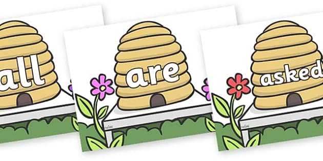 Tricky Words on Beehives - Tricky words, DfES Letters and Sounds, Letters and sounds, display, words