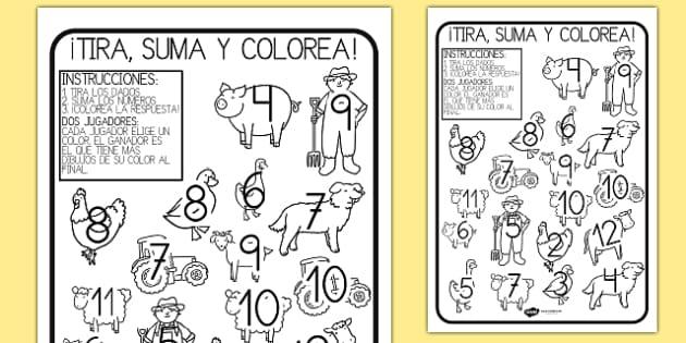 En la granja Ficha de tirar el dado y colorear