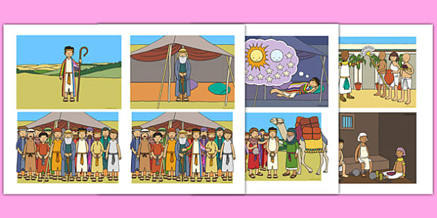 Joseph Story Sequencing (4 per A4) - Joseph, coat, Jacob, bible story, bible, slave, sequencing, story sequencing, story resources, A4, cards, 4 per A4, brothers, cupbearer, pharao, prison, cows, corn, dreams, Palace, Egypt, fat, thin