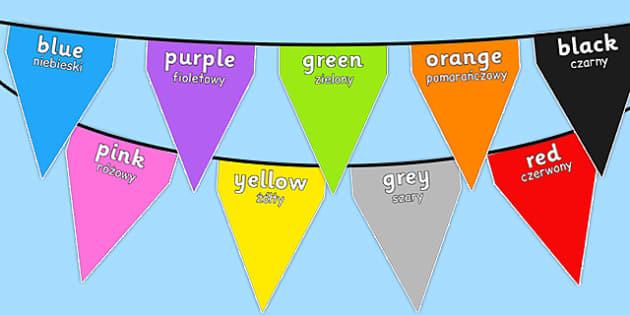 Colours on Bunting Polish Translation - polish, colours, bunting, display, display bunting