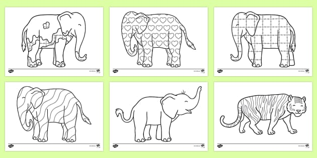 Colouring Sheets to Support Teaching on Elmer - Elmer, Elmer the elephant, resources, Elmer story, patchwork elephant, PSHE, PSE, David McKee, colours, patterns, story, story book, story book resources, story sequencing, story resources, Colouring Sh