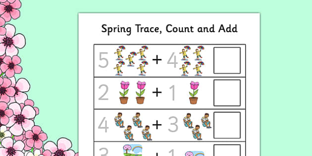Spring Themed Trace Count and Add Activity Sheet - spring, sheet, worksheet