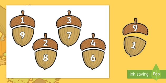 Autumn Acorn Number Bonds to 10 - autumn, acorn, number bonds, autumn themed number bonds, numbers to 10,  themed number bonds, autumn themed