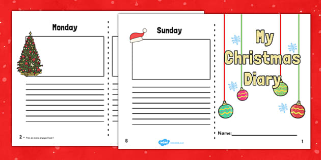 Christmas Holiday 7 Day Diary Writing Frame - christmas, holiday, 7 day, diary, writing frame