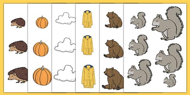 Autumn Size Ordering - autumn, size ordering, seasons, season size ordering, size ordering activity, size ordering games, size and shapes, shape, size
