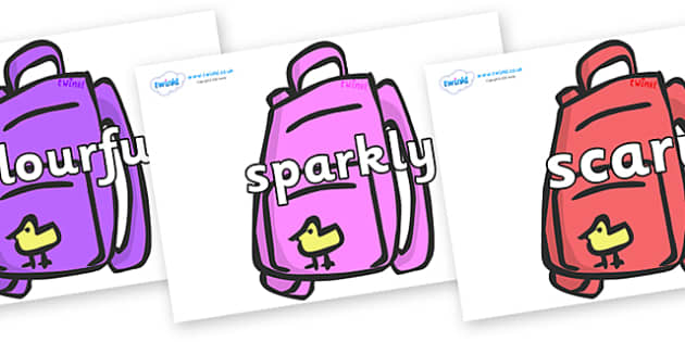 Wow Words on Backpacks - Wow words, adjectives, VCOP, describing, Wow, display, poster, wow display, tasty, scary, ugly, beautiful, colourful sharp, bouncy