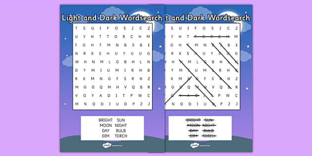 Light and Dark Wordsearch - wordsearch, light, dark, vocabulary