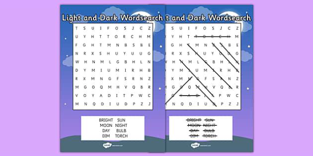 Light and Dark Wordsearch - wordsearch, light, dark, vocabulary