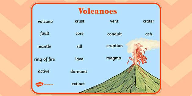 Volcano Word Mat - word mat, volcano, geography, volcanic, magma