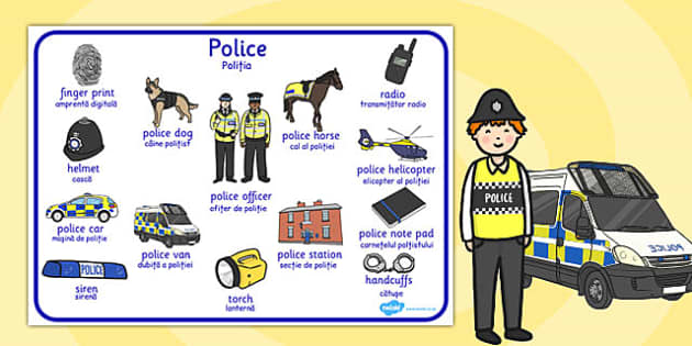 Police Word Mat Romanian Translation - romanian, police, word mat