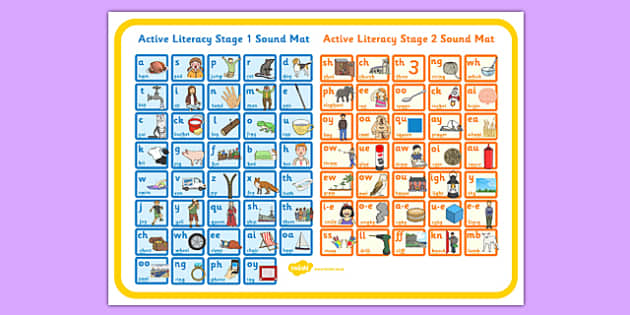 Active Literacy Stage 1 and 2 Combined Sound Mat Large - literacy, stage 1, stage 2, combined, sound mat