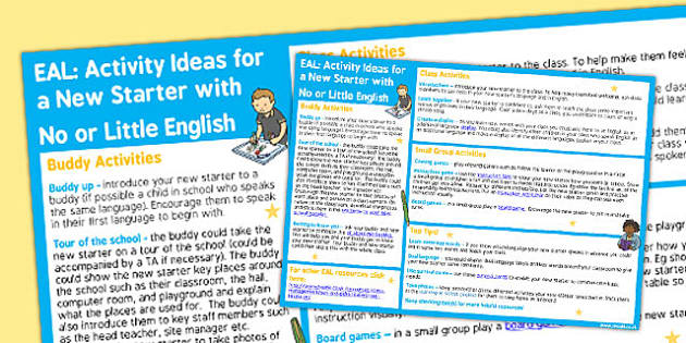 EAL Activity Ideas For a New Starter With No or Little English