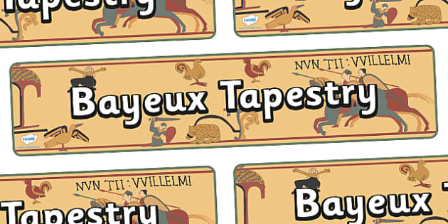 Anglo Saxons Bayeux Tapestry Display Banner - Anglo Saxon, Saxons, Anglo-saxon, history, display, banner, sign, poster, Northumbria, Kent, bronze helmet, East Anglia, Bayeux Tapestry, St. Bede, Offa's Duke, jewellery, Wessex, Sutton Hoo, Kent