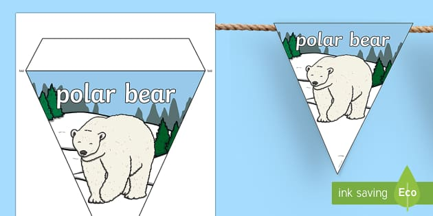 Polar Bear Display Bunting - polar, Arctic, bear, white, ice, snow, north pole