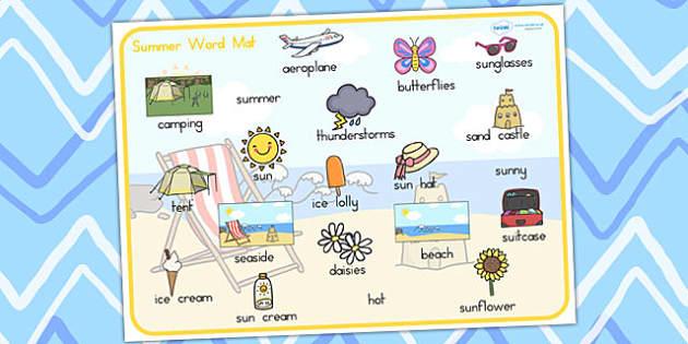 Summer Word Mat Images - summer, seasons, word mat, keywords