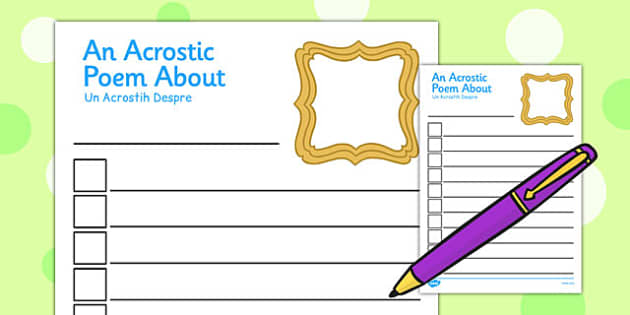 All About Me Acrostic Poem Template Romanian Translation - romanian
