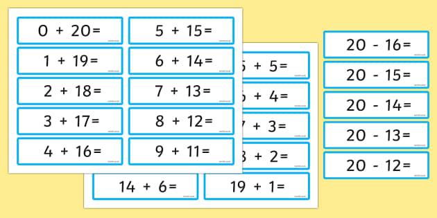 Number Bonds 20 Sentence Cards - number bonds, 20, sentence cards, sentence, cards, numbers, bonds, maths, mathematics