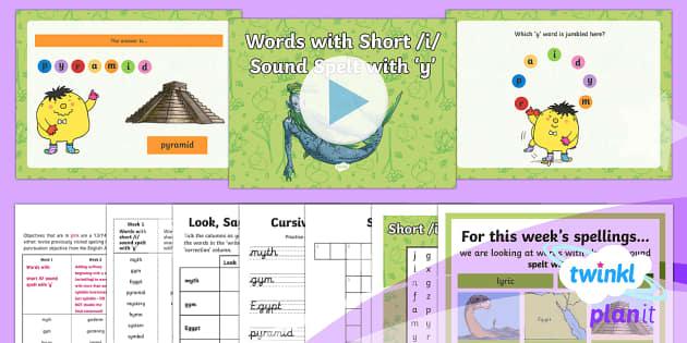 PlanIt Y3 Term 2A W1: Short /i/ spelt using 'y' Spelling Pack - Spellings Year 3, Y3, year 3, short i, short i using y, statutory, Y3 spellings, SPaG, GPS, weekly,
