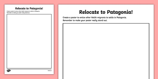 Patagonia Design a Poster Activity - Design a Poster, Patagonia, Migrants, Wales, south america, ks2, geography, history