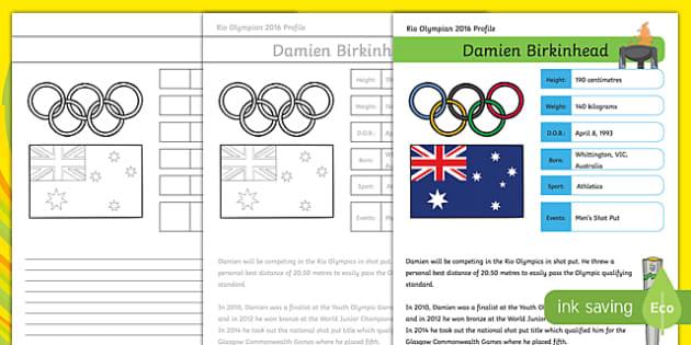 Australian RIO Olympian Damien Birkinhead Handwriting Practice Activity Sheet-Australia, worksheet