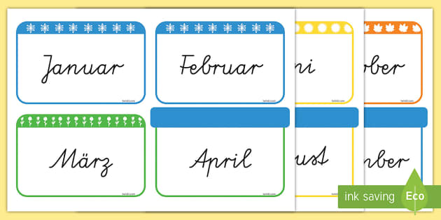 Months of the Year Flashcards German - german, months, year, flashcards, flash cards