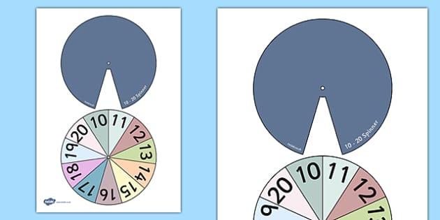 Numbers 10-20 Spinner - numbers, 10-20, spinner, spin, number, maths