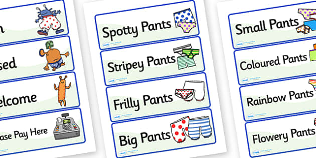 Pant Shop Role Play Labels to Support Teaching on Aliens Love Underpants - paint, shop, role, play, labels, paint shop, paint shop labels, role play labels, paint shop role play, labels for paint shop
