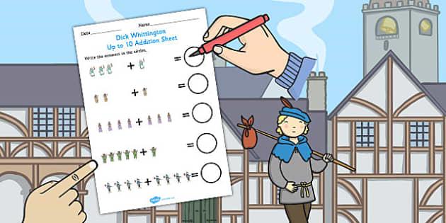 Dick Whittington Up to 10 Addition Sheet - stories, add, maths