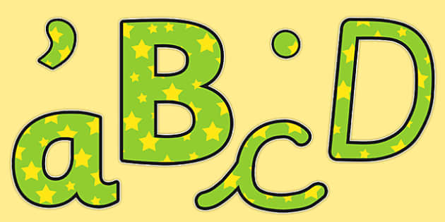 Green and Yellow Stars Themed Display Lettering - display, letter