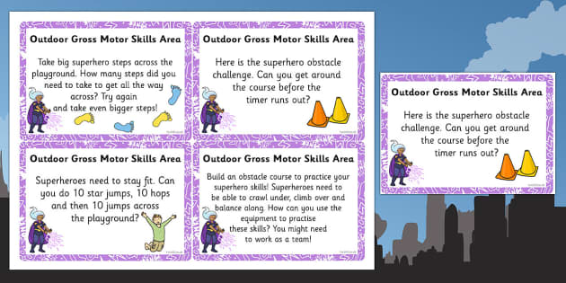 EYFS Superhero Themed Outdoor Gross Motor Skills Area Challenge Cards