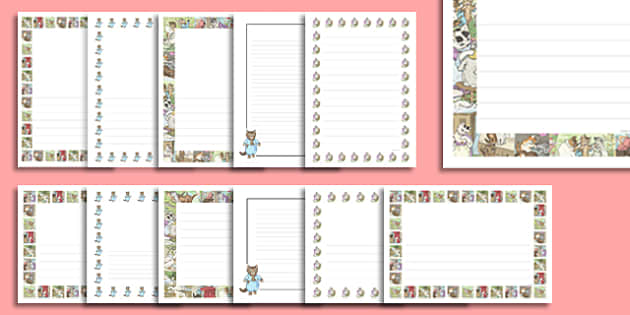 Beatrix Potter - The Tale of Tom Kitten Page Borders - beatrix potter, tom kitten